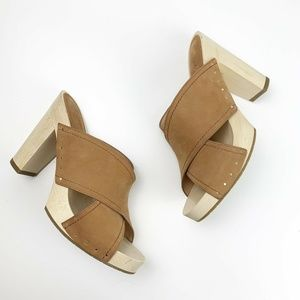 Joie Tan Criss Cross Leather Wooden Heels Size 41